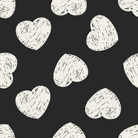 heart seamless pattern: Doodle Heart seamless pattern background Illustration