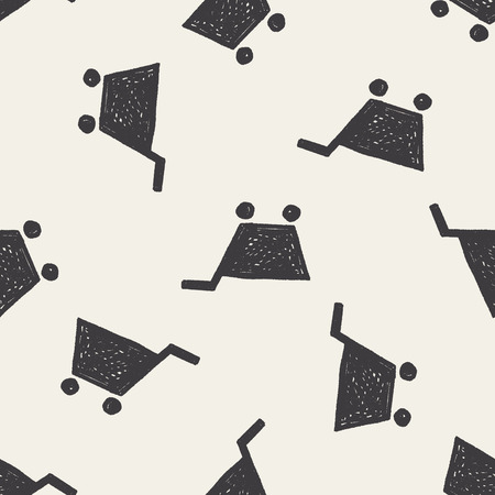 keywords  backdrop: Doodle Shopping cart seamless pattern background