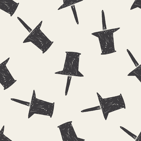 Doodle Thumbtack seamless pattern background Vector