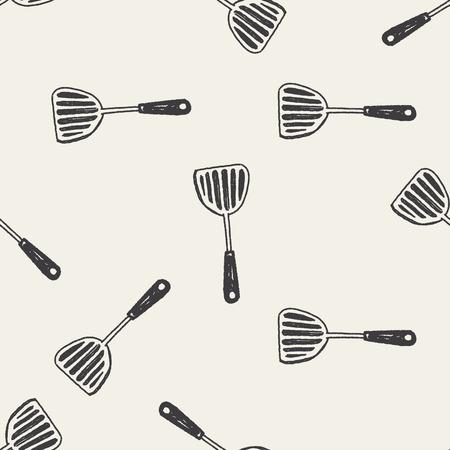 kulinarne: Doodle kulinarne łyżka bezszwowe tło wzór Ilustracja