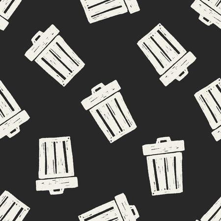 keywords backdrop: Doodle Trash can seamless pattern background Illustration
