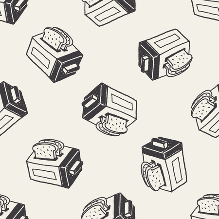 Doodle Toaster seamless pattern background