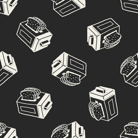 toaster: Doodle Toaster seamless pattern background