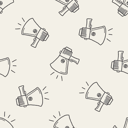 megaphone icon: Doodle Megaphone seamless pattern background