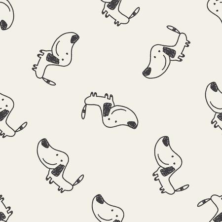 Hond doodle naadloze patroon achtergrond