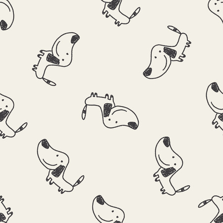 Doodle Dog seamless pattern background