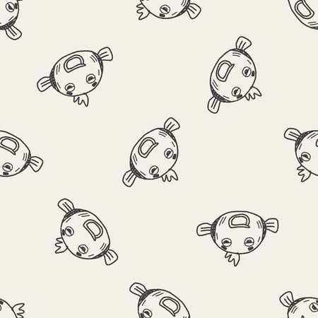 Doodle Goldfish seamless pattern background Vector