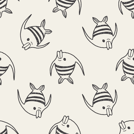 pterophyllum: Doodle Angelfish seamless pattern background