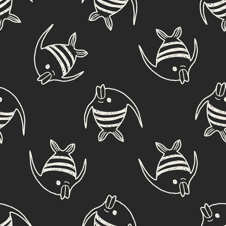 angelfish: Doodle Angelfish seamless pattern background