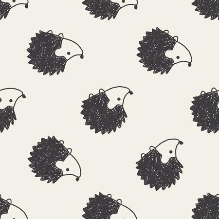 Doodle Hedgehog naadloze patroon achtergrond