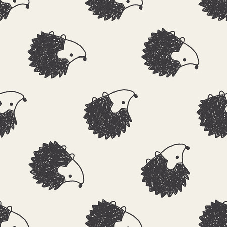 Doodle Hedgehog seamless pattern background