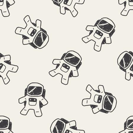 astronaut: Doodle Astronaut seamless pattern background
