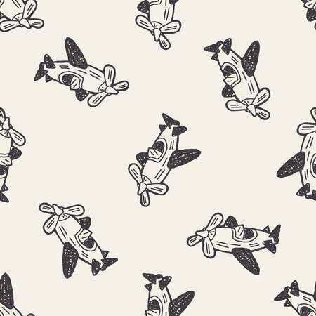 toy plane: Doodle Toy Plane seamless pattern background