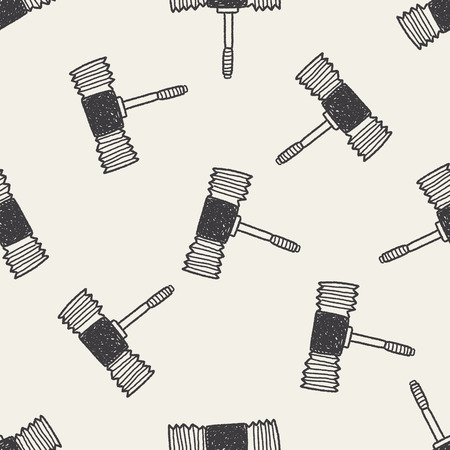 Doodle Toy Hammer seamless pattern background Vector