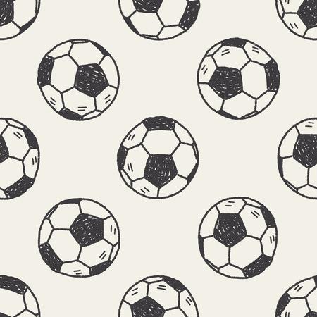 Doodle soccer seamless pattern background