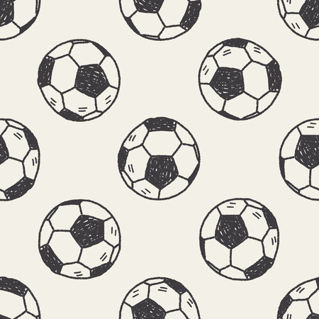 sport balls: Doodle soccer seamless pattern background