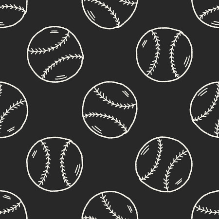 fast pitch: Doodle Baseball seamless pattern background