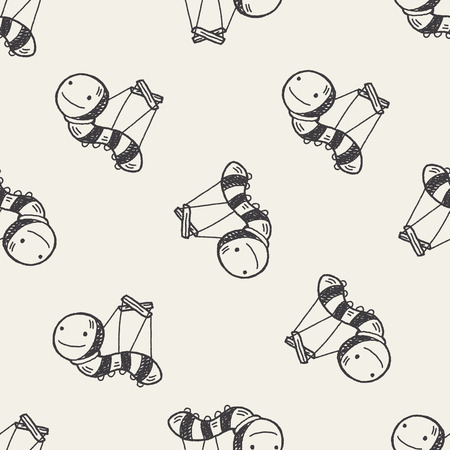 puppeteer: Doodle Puppet seamless pattern background