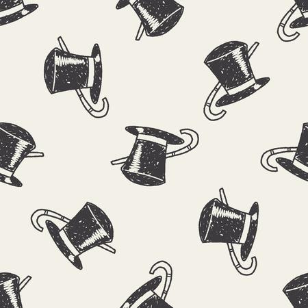 tophat: Doodle Topper seamless pattern background Illustration