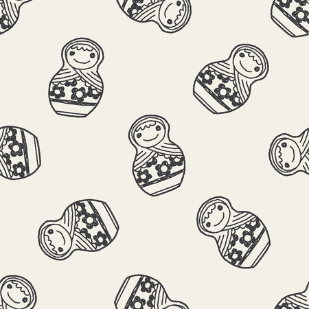 babushka: Doodle Russian Dolls seamless pattern background Illustration