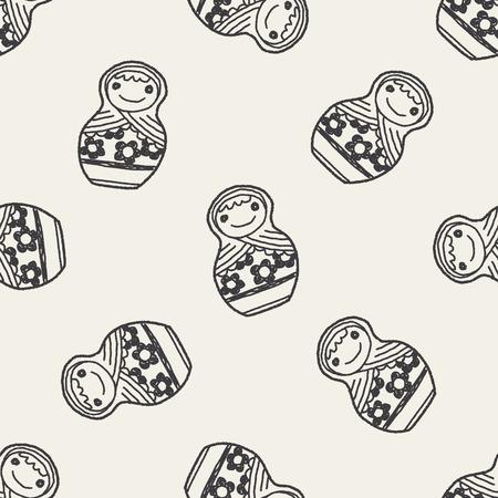 mu�ecas rusas: Mu�ecas rusas Doodle de fondo sin fisuras patr�n