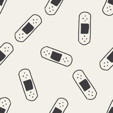 adhesive bandage: adhesive bandage doodle drawing seamless pattern background
