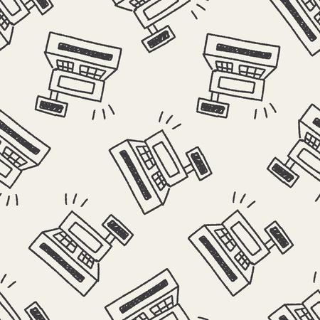 cash in hand: Cash register doodle drawing seamless pattern background Illustration