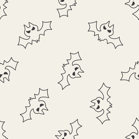 bat doodle drawing seamless pattern background Vector