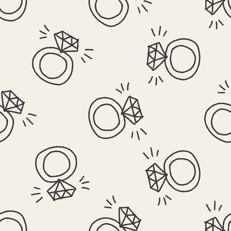 diamond ring doodle drawing  seamless pattern background