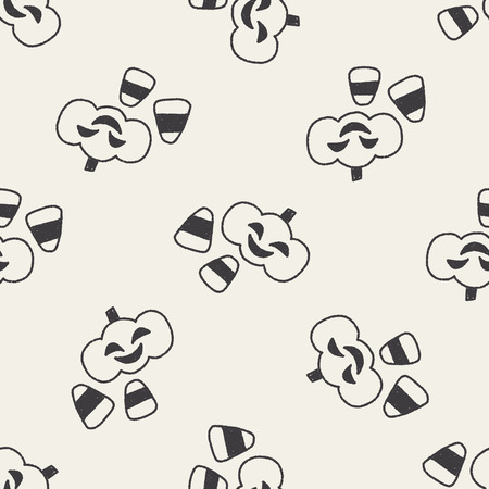 halloween pumpkin doodle drawing seamless pattern background Vector