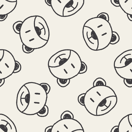 baby bear: baby bear doodle drawing seamless pattern background