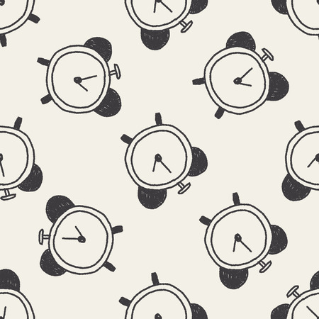 clock doodle drawing seamless pattern background Vector
