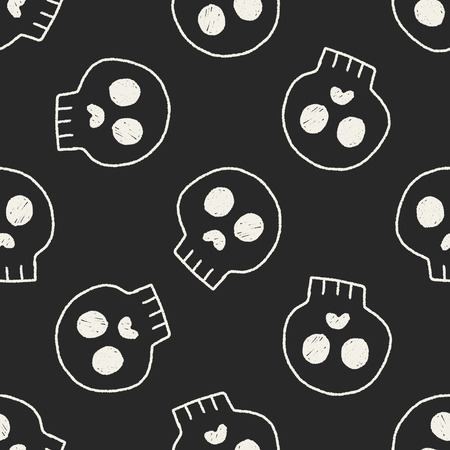 skull doodle drawing seamless pattern background Vector