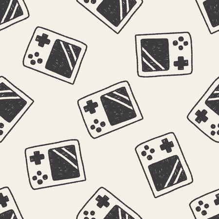 Handheld game doodle drawing seamless pattern background