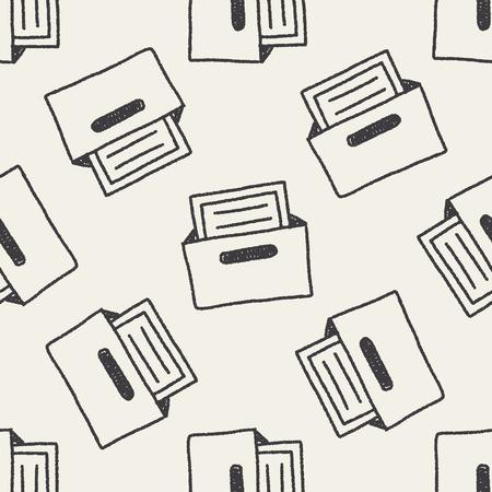 file box: file box doodle drawing seamless pattern background