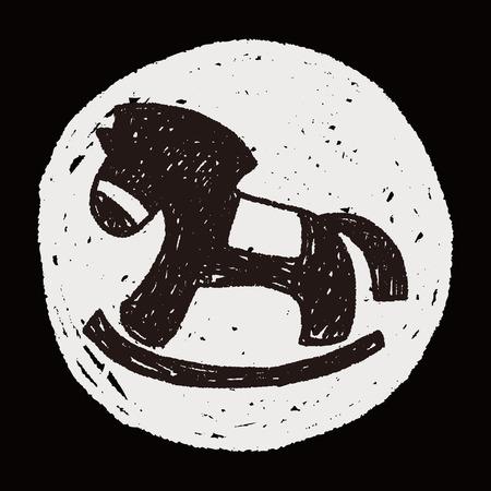 rocking: Doodle Rocking horse Illustration