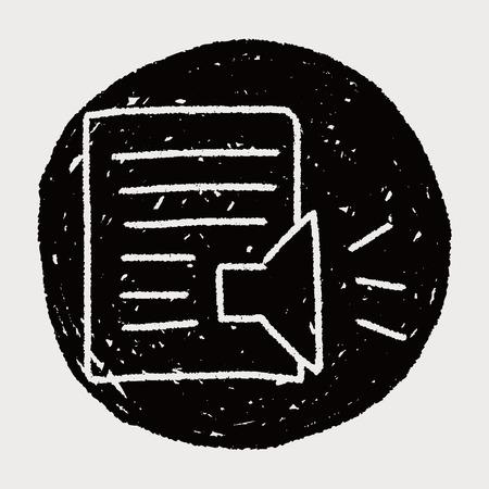 loudspeakers: paper and loudspeakers doodle drawing Illustration