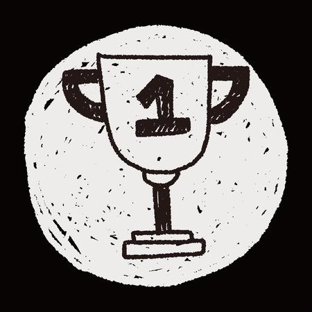 Trophy doodle drawing Vector