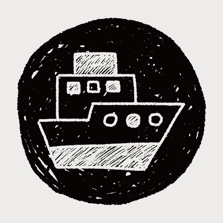 doodle boat Vector