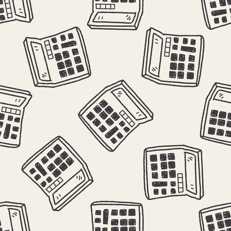 Doodle Calculator seamless pattern background Vector