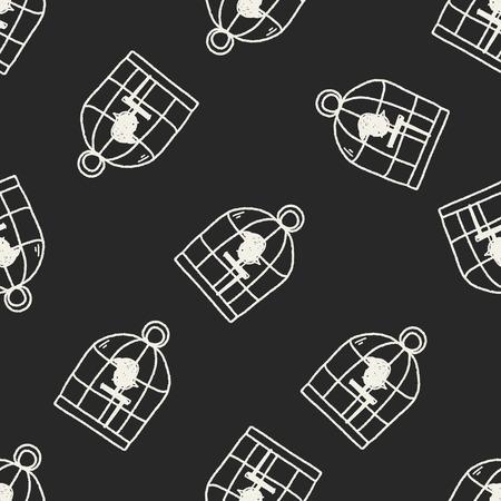 birdcage: doodle birdcage seamless pattern background Illustration