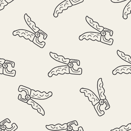 clippers: Pet nail clippers doodle seamless pattern background Illustration