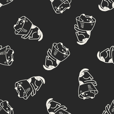 doodle dog collar seamless pattern background