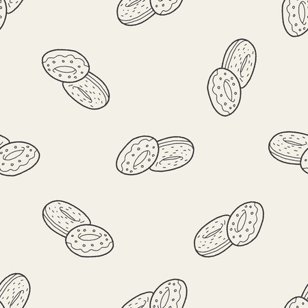 donut doodle seamless pattern background Vector