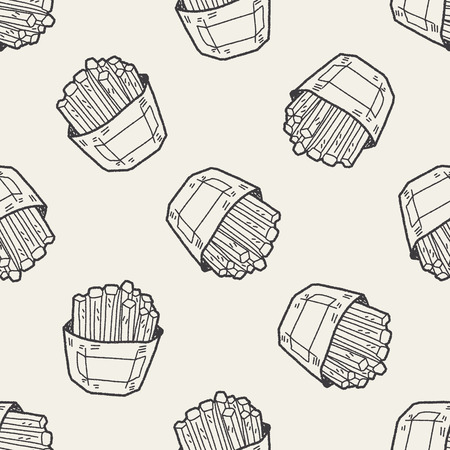French fries doodle seamless pattern background Vector