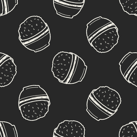 cooked rice: rice doodle seamless pattern background