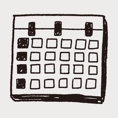 Maandelijkse kalender doodle tekening