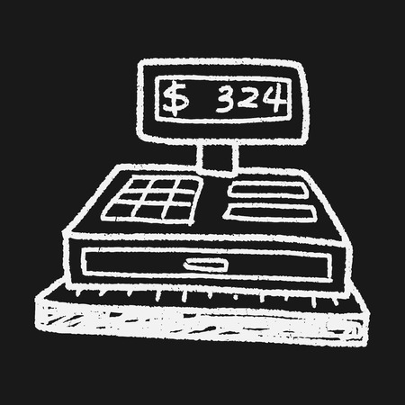 checkout: Checkout Machine Doodle Illustration