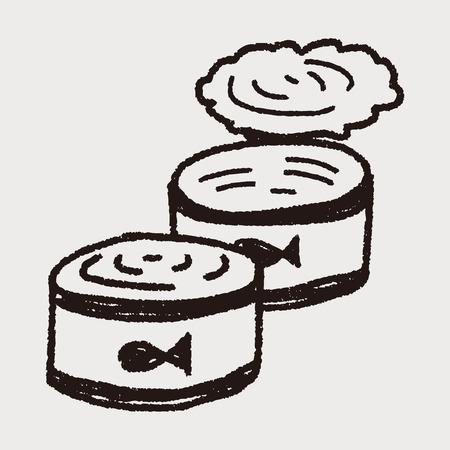 doodle vis kan Stock Illustratie