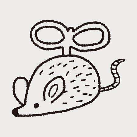 silueta gato: ratón de juguete garabato